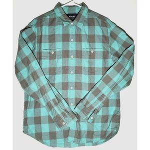 Bonoboa Mens Teal Gray Plaid Flannel Shirt Size L